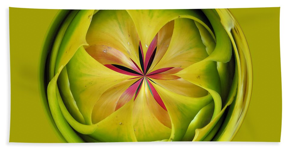 Bromiliad Hand Towel featuring the photograph Bromiliad Orb by Darleen Stry