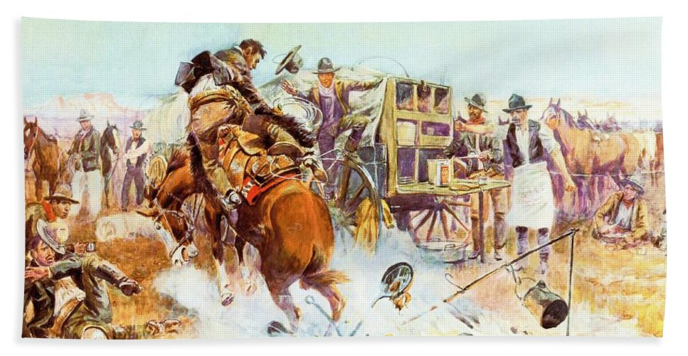 Bronc For Breakfast Hand Towel featuring the digital art Bronc For Breakfast by Charles Russell