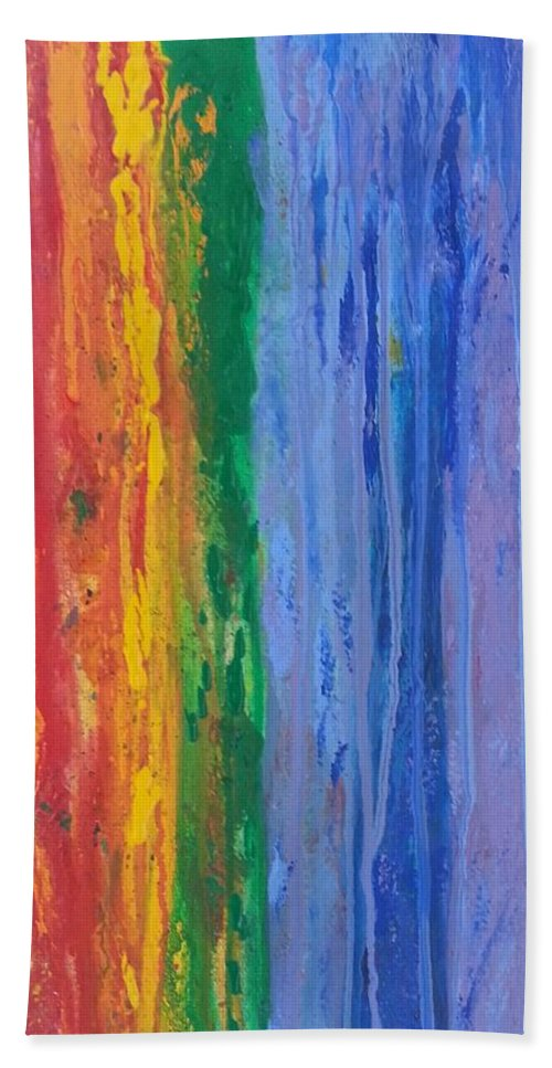 Red Hand Towel featuring the painting Rainbow Flow by Mark Barcikowski