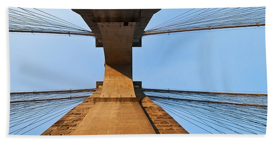 America Hand Towel featuring the photograph Brooklyn Bridge Abstract by Svetlana Sewell