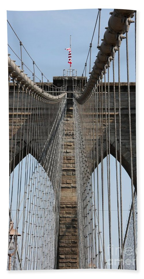 Bridge Bath Sheet featuring the photograph Brooklyn Bridge Cables Nyc by Christiane Schulze Art And Photography