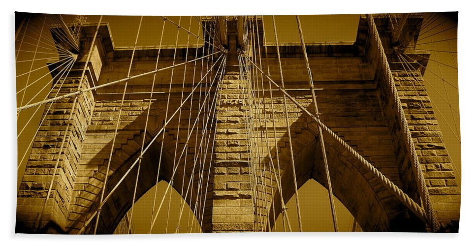 Brooklyn Bridge Prints Bath Towel featuring the photograph Brooklyn Bridge by Monique's Fine Art
