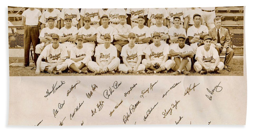Brooklyn Dodgers Baseball Team Hand Towel featuring the photograph Brooklyn Dodgers Baseball Team by Bellesouth Studio