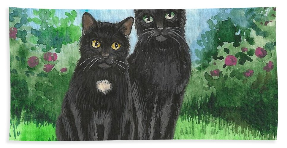 Print Bath Sheet featuring the painting Brothers by Margaryta Yermolayeva
