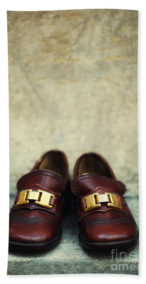 Vertical Hand Towel featuring the photograph Brown Children Shoes by Jaroslaw Blaminsky