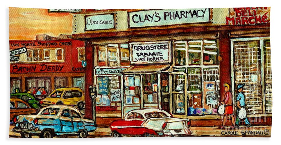 Montreal Hand Towel featuring the painting Brown Derby Van Horne Shopping Center Clay's Pharmacy Montreal Paintings City Scenes Carole Spandau by Carole Spandau
