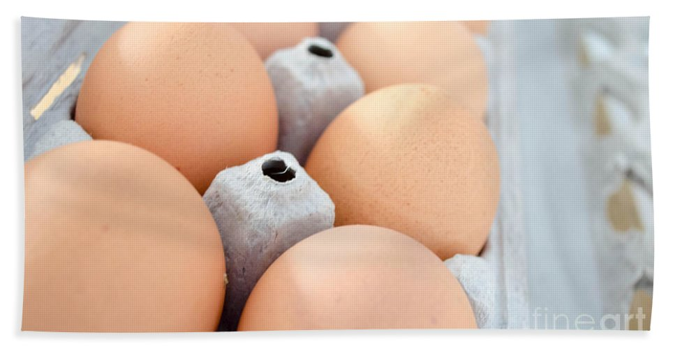 Food Bath Sheet featuring the photograph Brown Eggs 2 by Andrea Anderegg