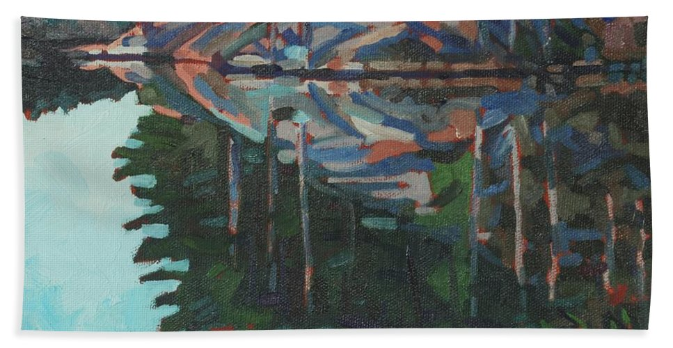 Canoe Bath Sheet featuring the painting Brown Island Greens by Phil Chadwick