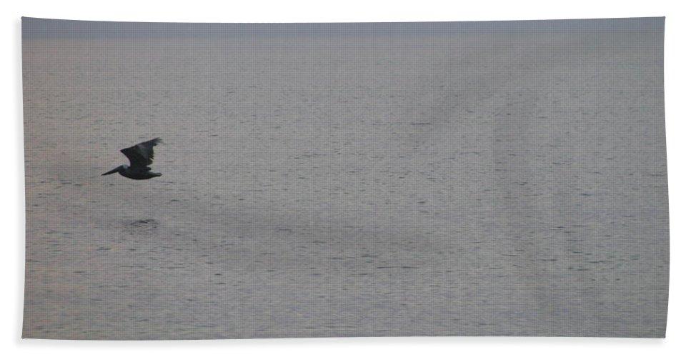 Landscape Hand Towel featuring the photograph Brown Pelican In Flight by Ellen Meakin