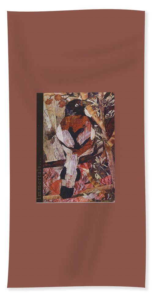 Brown-white-bird Hand Towel featuring the mixed media Brown- White Bird by Basant Soni