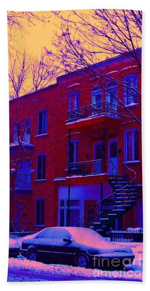 Montreal Bath Towel featuring the photograph Brownstones In Winter 6 by Carole Spandau