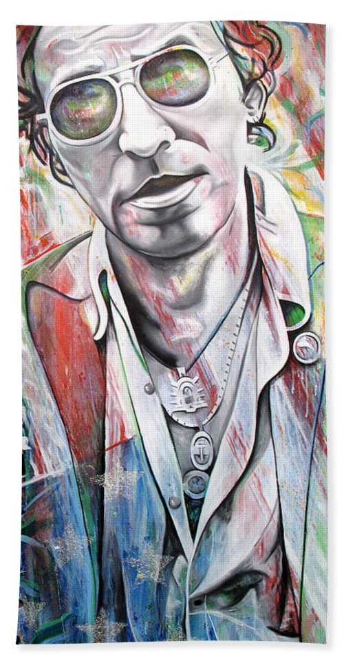 Bruce Springsteen Hand Towel featuring the painting Bruce Springsteen by Joshua Morton