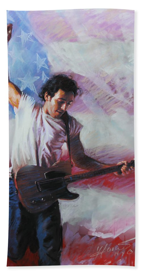 Singer Hand Towel featuring the mixed media Bruce Springsteen The Boss by Viola El