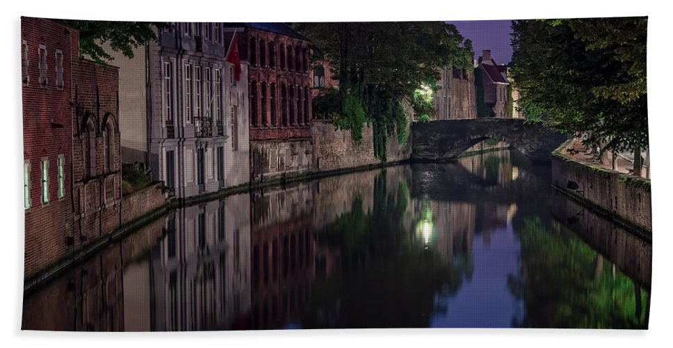 Joan Carroll Hand Towel featuring the photograph Bruges Canal Near Blind Donkey Alley by Joan Carroll