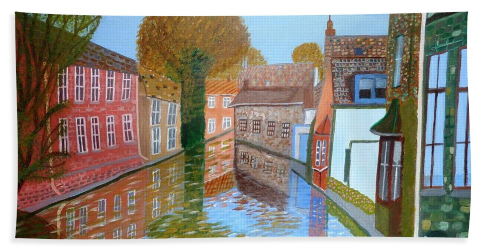 Canal Bath Sheet featuring the painting Brugge Canal by Magdalena Frohnsdorff