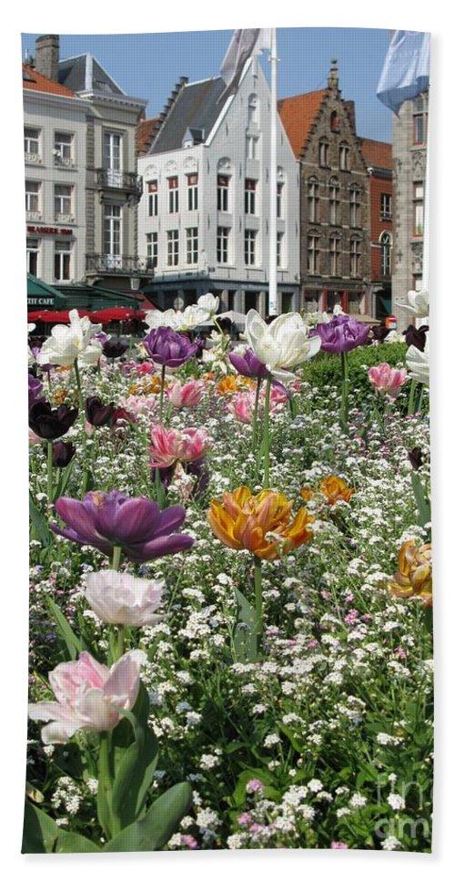 Brugge Bath Sheet featuring the photograph Brugge In Spring by Ausra Huntington nee Paulauskaite