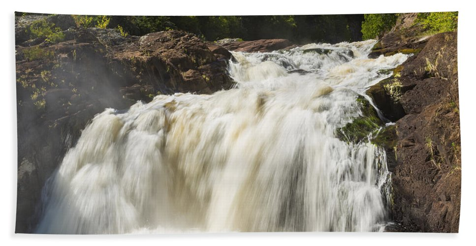 Waterfall Bath Sheet featuring the photograph Brule River Upper Falls 1 by John Brueske
