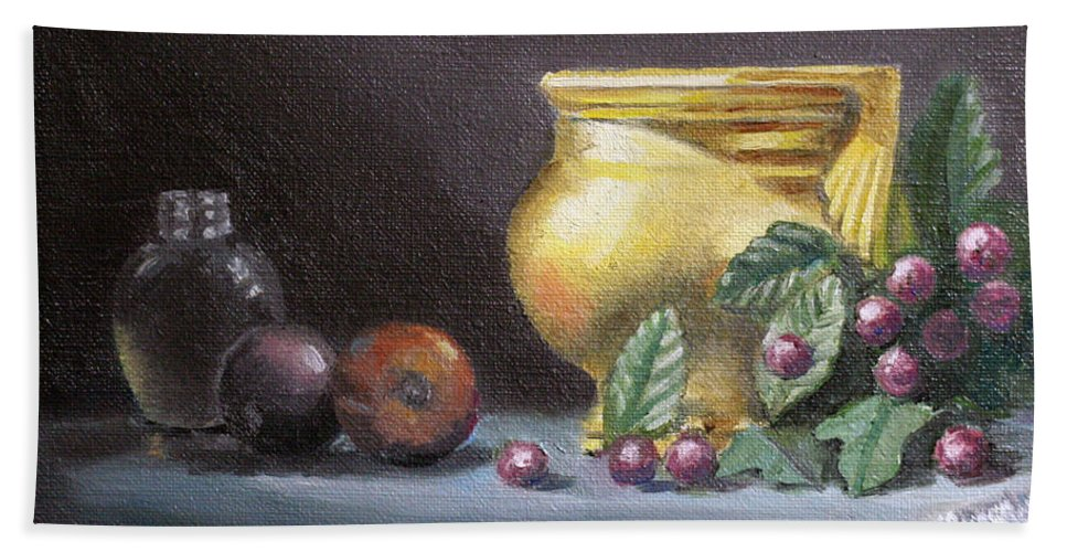 Still Life Hand Towel featuring the painting Brushed Gold Vase by Sarah Parks