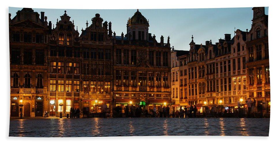 Brussels Bath Sheet featuring the photograph Brussels - Grand Place Facades Golden Glow by Georgia Mizuleva