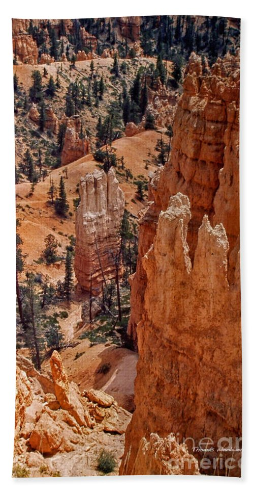 Hoodoos Bath Sheet featuring the photograph Bryce Canyon 02 by Thomas Woolworth