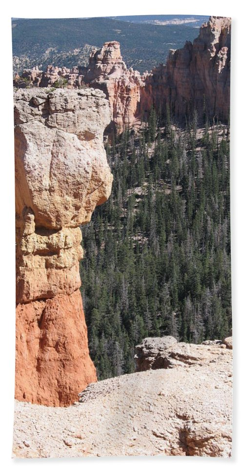 Canyon Hand Towel featuring the photograph Interesting Bryce Canyon Rockformation by Christiane Schulze Art And Photography