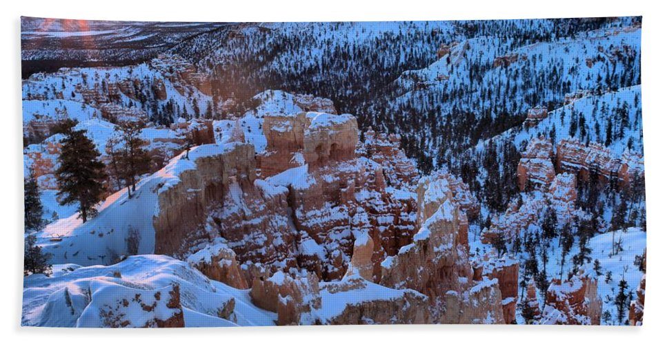 Bryce Canyon National Park Hand Towel featuring the photograph Bryce Sunburst by Adam Jewell