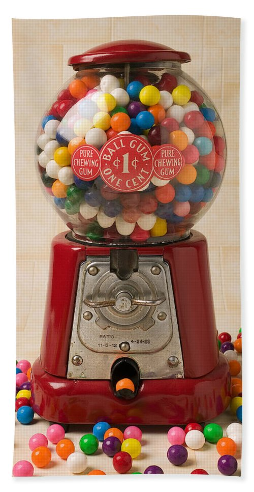 Bubblegum Machine Gum Hand Towel featuring the photograph Bubble Gum Machine by Garry Gay