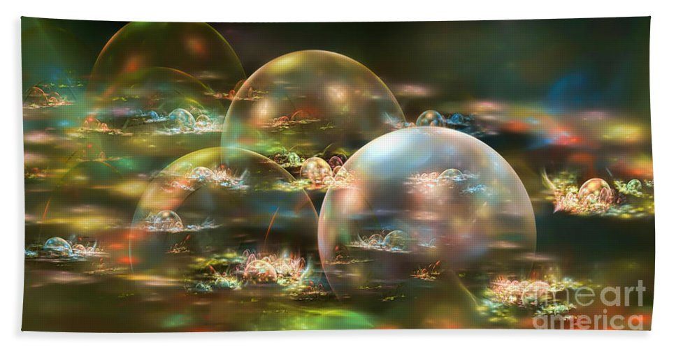 Bubbles Hand Towel featuring the digital art Bubbles by Olga Hamilton