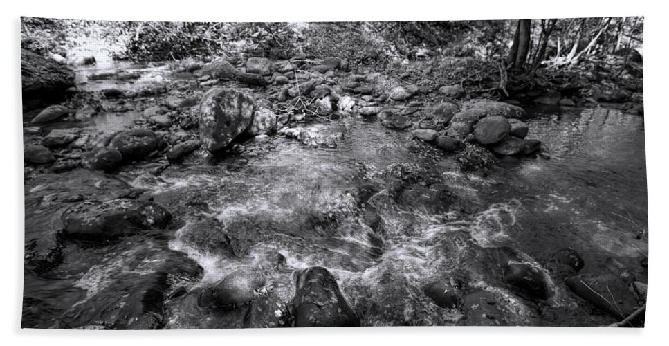 Brook Hand Towel featuring the photograph Bubbling Water Brook In The Smokies by Kathy Clark