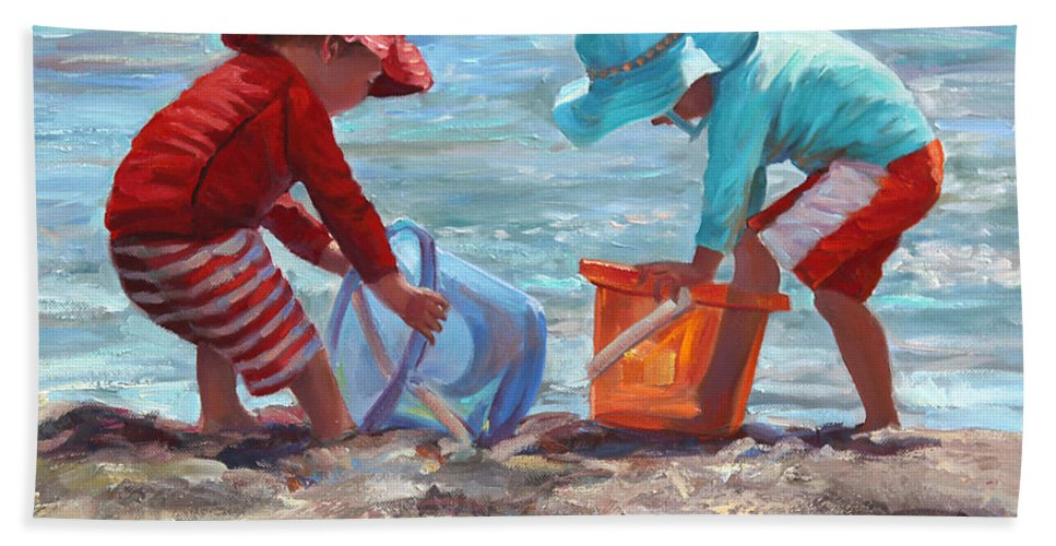 Seashore Bath Towel featuring the painting Buckets Of Fun by Laurie Snow Hein