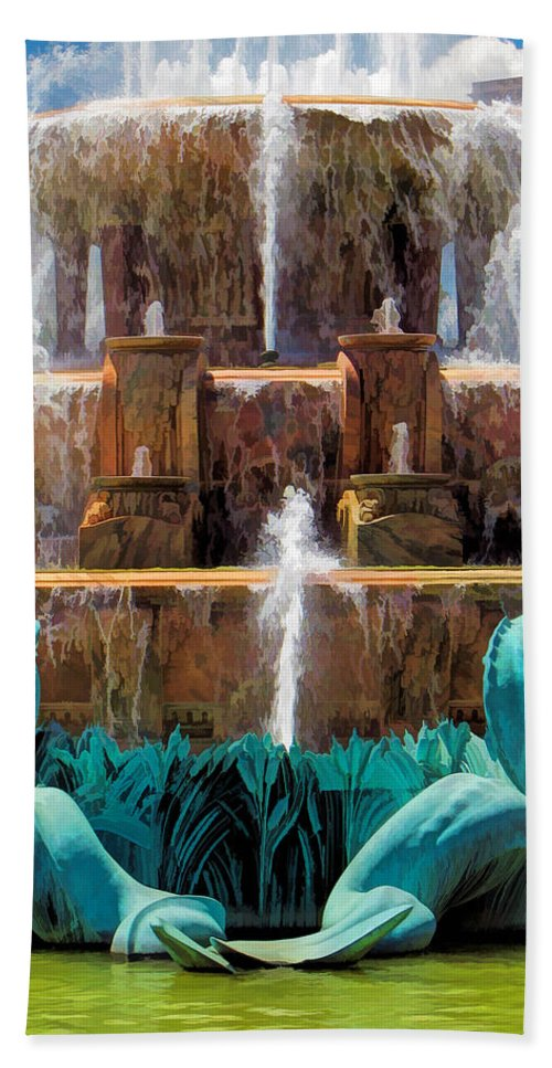 Buckingham Fountain Hand Towel featuring the painting Buckingham Fountain Closeup by Christopher Arndt