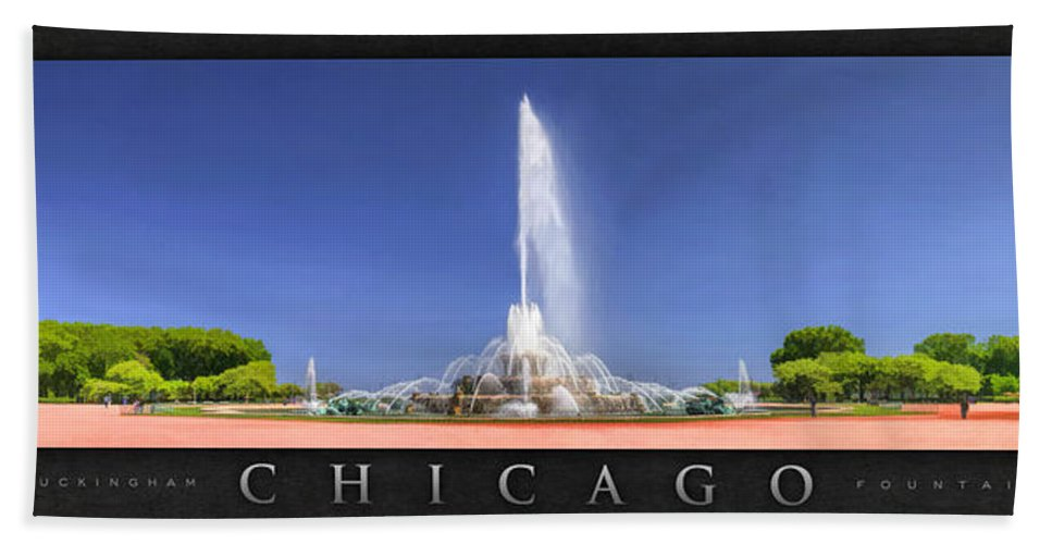 Buckingham Fountain Hand Towel featuring the painting Buckingham Fountain Panorama Poster by Christopher Arndt
