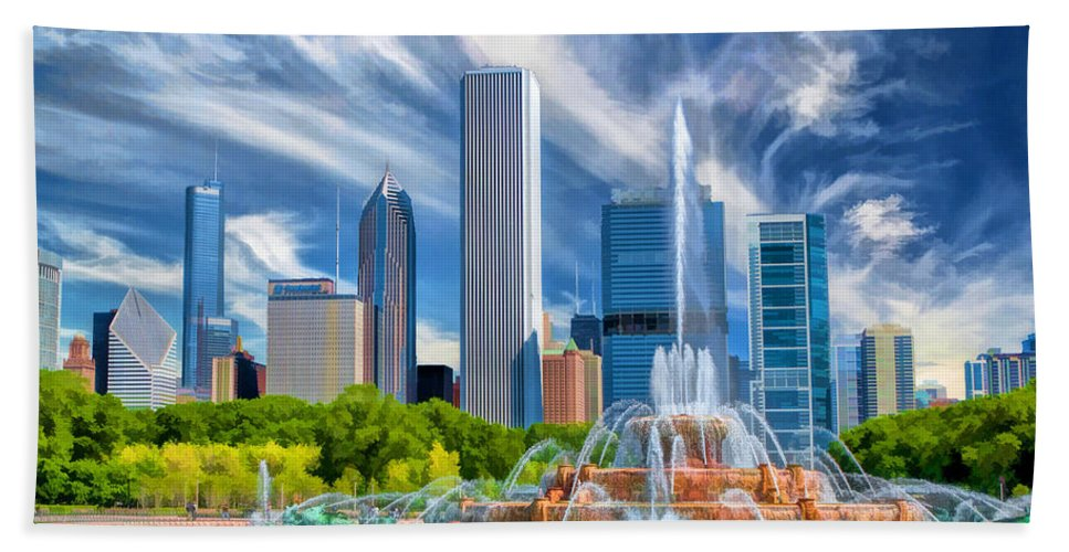 Buckingham Fountain Hand Towel featuring the painting Buckingham Fountain Skyscrapers by Christopher Arndt