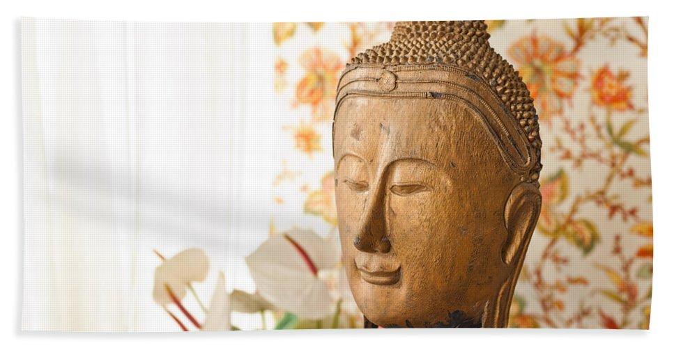 Day Hand Towel featuring the photograph Buddha Head by U Schade