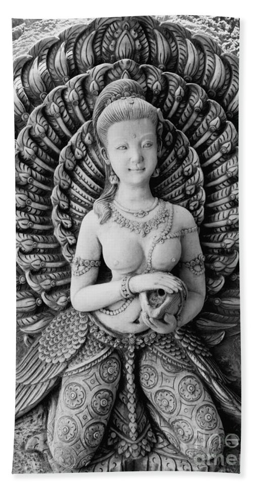 Hua Bath Sheet featuring the photograph Buddhist Carving 02 by Antony McAulay