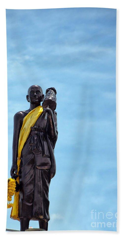 Hua Bath Sheet featuring the photograph Buddhist Statue by Antony McAulay
