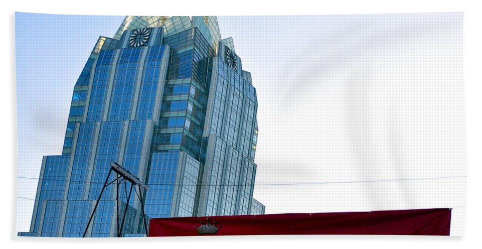 Frost Tower Hand Towel featuring the photograph Budweiser And Building by Kristina Deane