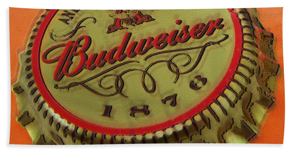 Budweiser Hand Towel featuring the painting Budweiser Cap by Tony Rubino