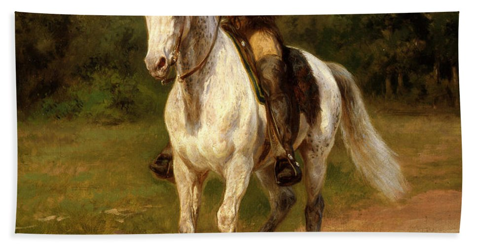 Hand Towel featuring the painting Buffalo Bill by Rosa Bonheur
