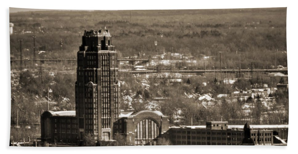 Winter Hand Towel featuring the photograph Buffalo Central Terminal Winter 2013 by Michael Frank Jr