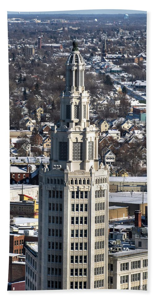 Winter Hand Towel featuring the photograph Buffalo Ny Electric Building Winter 2013 by Michael Frank Jr
