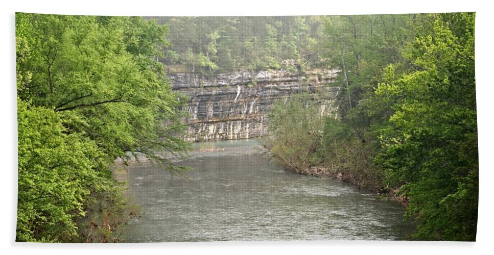 Buffalo National River Hand Towel featuring the photograph Buffalo River Mist Horizontal by Marty Koch