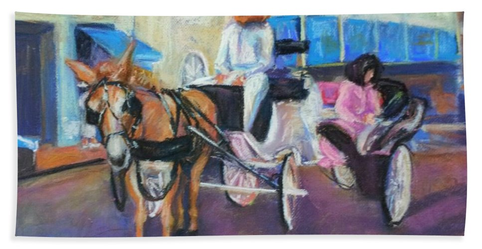 New Orleans Bath Sheet featuring the painting Buggy On Bourbon Street by Beverly Boulet