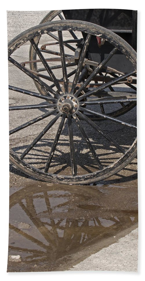 Amish Bath Towel featuring the photograph Buggy Wheels by Ann Horn