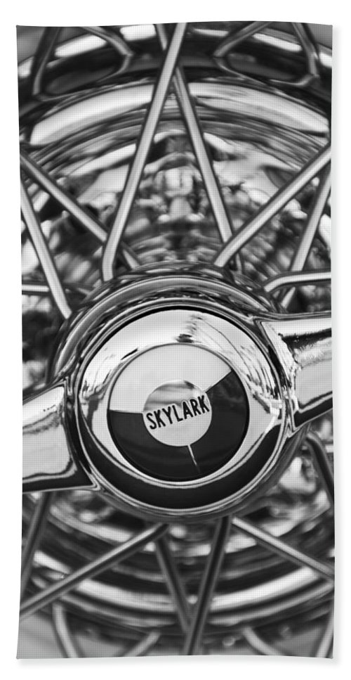 Black And White Bath Sheet featuring the photograph Buick Skylark Wheel Black And White by Jill Reger