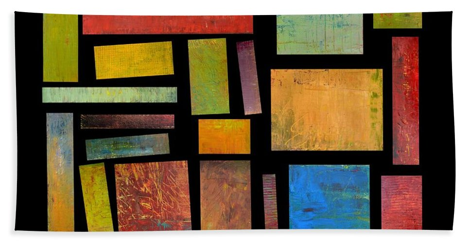 Textural Hand Towel featuring the painting Building Blocks Three by Michelle Calkins
