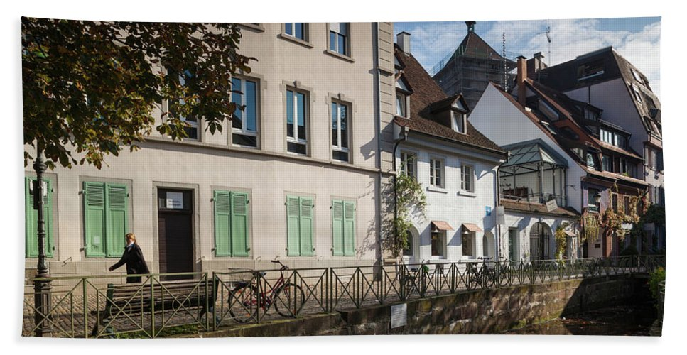 Photography Bath Sheet featuring the photograph Buildings Along Canal, Altstadt by Panoramic Images