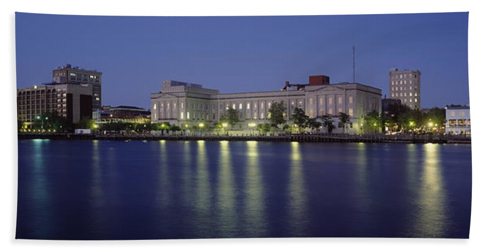 Photography Hand Towel featuring the photograph Buildings At The Waterfront, Cape Fear by Panoramic Images