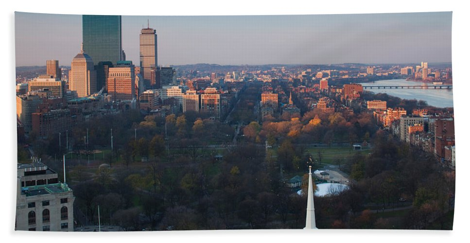 Photography Bath Sheet featuring the photograph Buildings In A City, Boston Common by Panoramic Images
