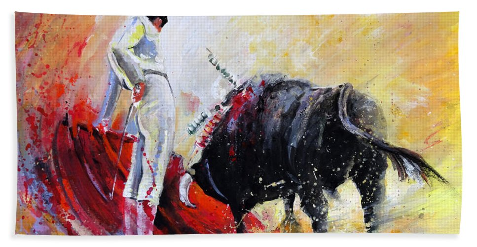 Animals Hand Towel featuring the painting Bull in Yellow Light by Miki De Goodaboom
